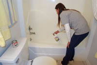 we thoroughly clean and sanitize your bathroom